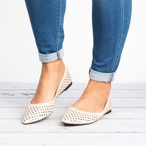 Perforated Nude Pointy Flats